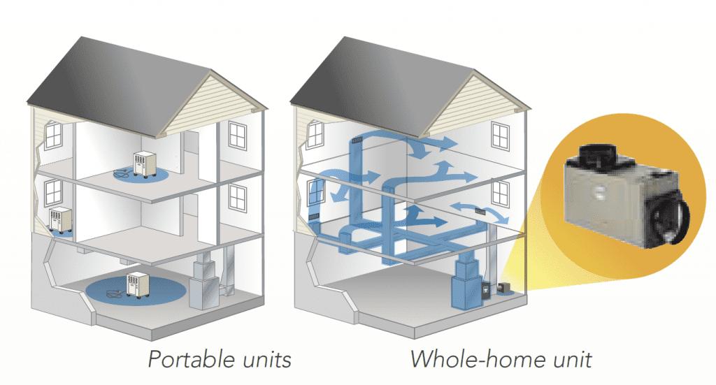 whole home dehumidifier vs portable
