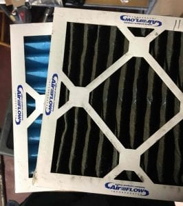 dirty furnace filter changeout clean filter