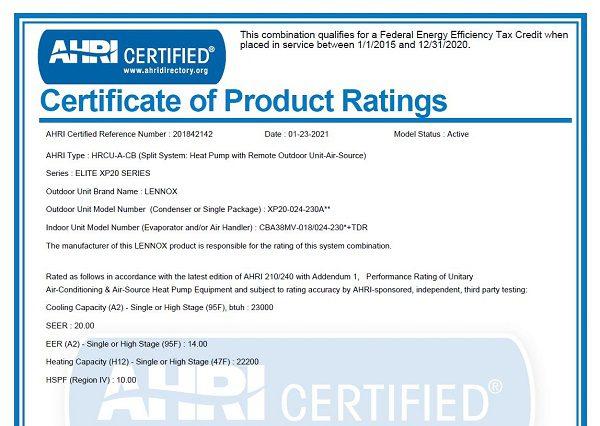 AHRI Certificate