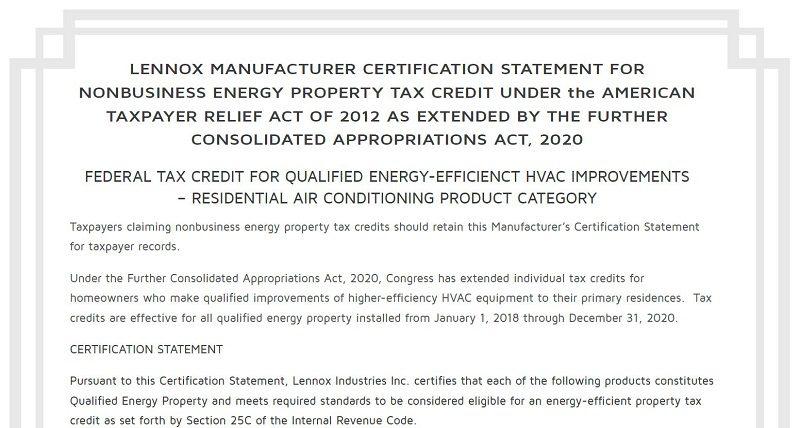 Manufacturer Certificate Federal Tax Credit Lennox, Manufacturer, Certificate, Federal, Tax, Credit, Lennox,