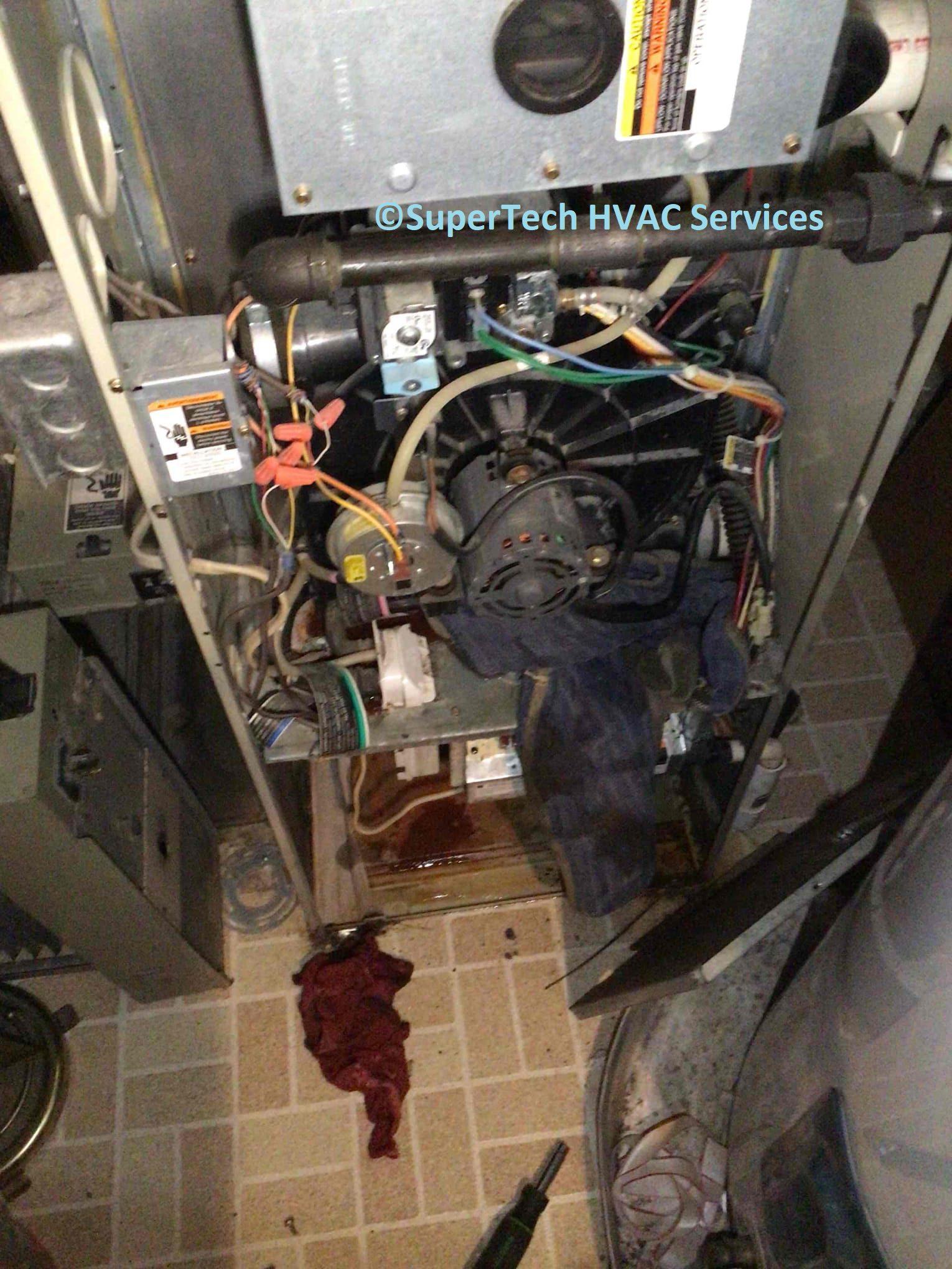 water leaking inside furnace