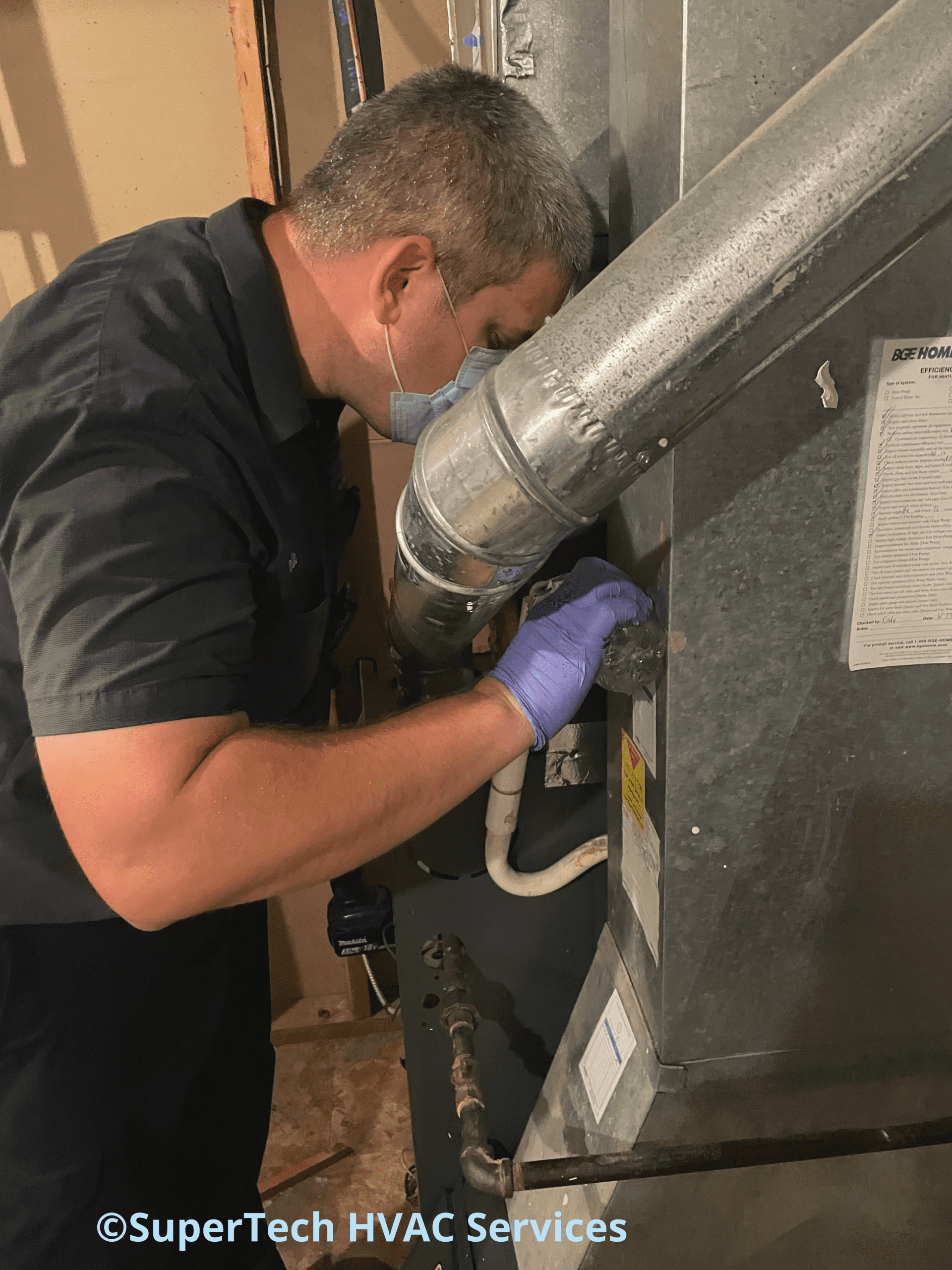 checking condensate drain line by pouring water
